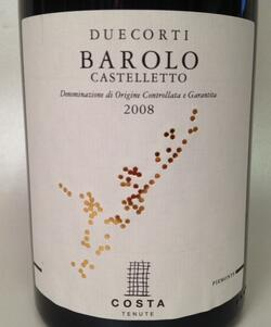 Barolo Castelletto 2008, Piemonte Duecorti COSTA TENUTE