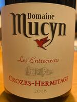 Crozes-Hermitage Les Entrecoeurs, Domaine Mucyn, 2018.